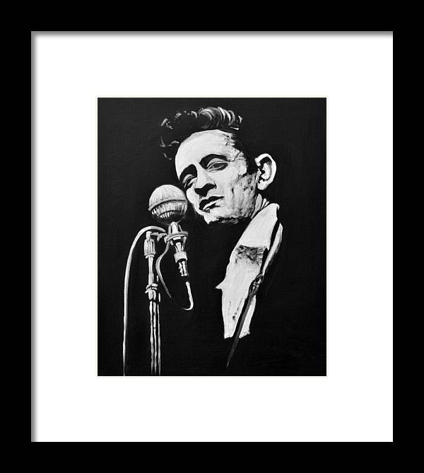 Johnny Cash Framed Print by Melissa O\'Brien