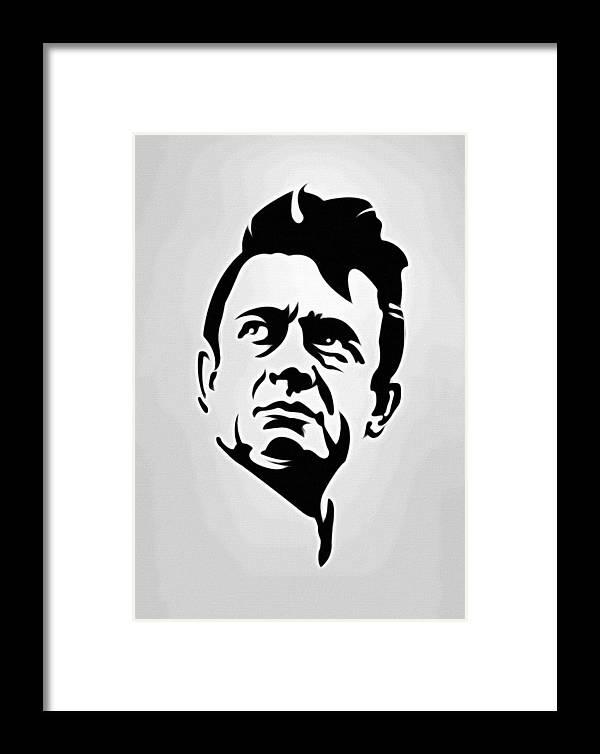 Johnny Cash Poster Art Portrait Framed Print by Florian Rodarte