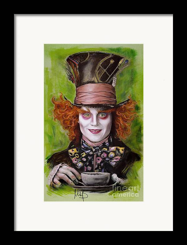 Johnny Depp Framed Print featuring the drawing Johnny Depp As Mad Hatter by Melanie D