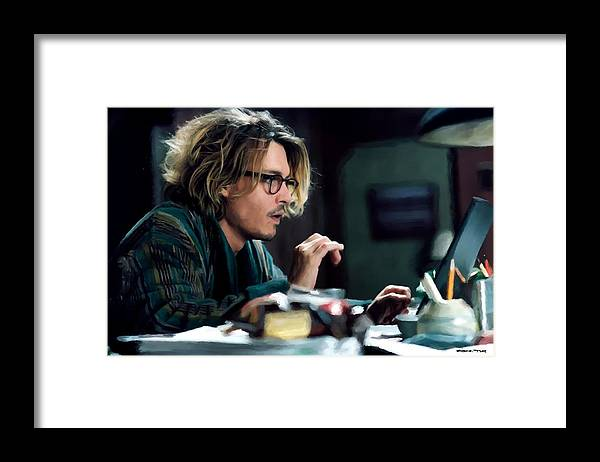 David Koepp Films Framed Print featuring the digital art Johnny Depp as Mort Rainey @ Secret Window by Gabriel T Toro