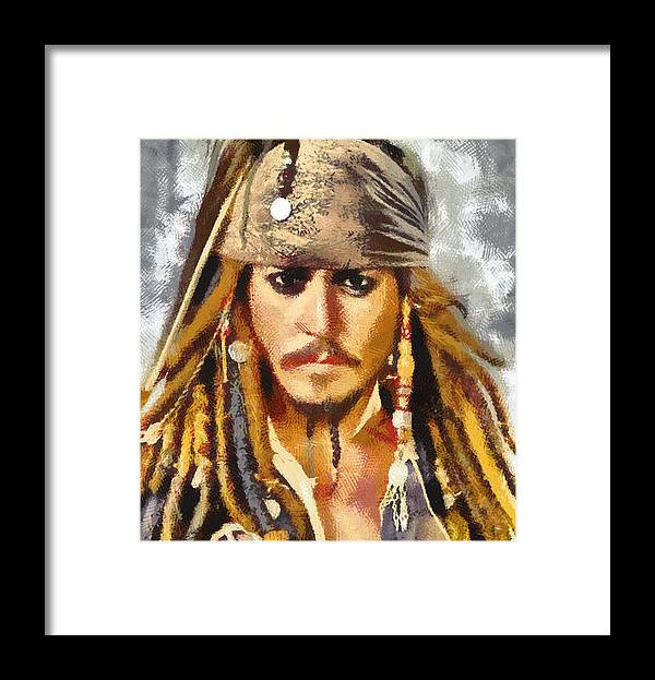 Johnny Depp; Pirates Caribbean; Jack Sparrow; Captain Jack Sparrow; Pirate Framed Print featuring the painting Johnny Depp Jack Sparrow Actor by Georgi Dimitrov