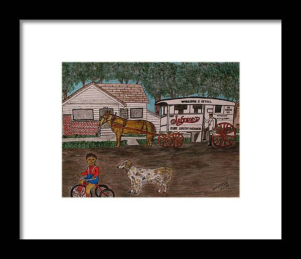 Johnson Creamery Framed Print featuring the painting Johnsons Milk Wagon Pulled By A Horse by Kathy Marrs Chandler