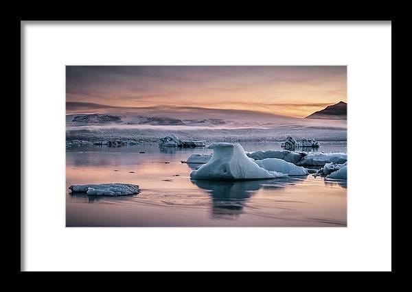 Scenics Framed Print featuring the photograph Jokulsarlon Sunrise by Andreas Wonisch