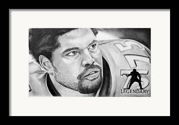 Nfl Framed Print featuring the drawing Jonathan Ogden by Don Medina