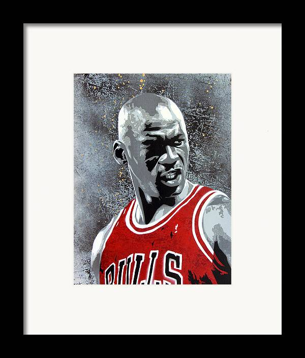 Michael Jordan Framed Print featuring the painting Jordan by Bobby Zeik