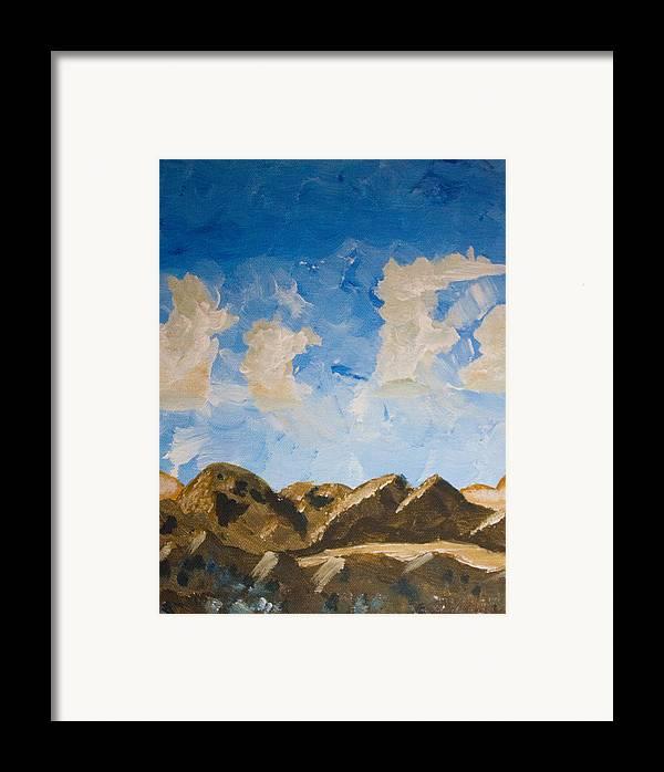Jtnp Framed Print featuring the painting Joshua Tree National Park And Summer Clouds by Carolina Liechtenstein