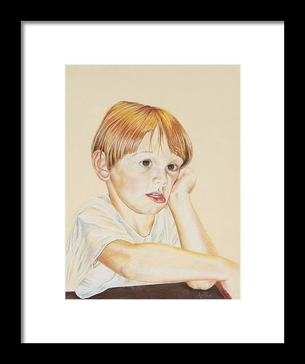 Boy Portrait Framed Print featuring the drawing Joshy by Arthur Fix