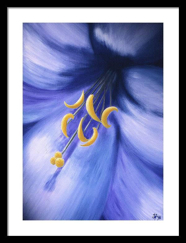 Blue Framed Print featuring the painting Joy by Ingela Christina Rahm