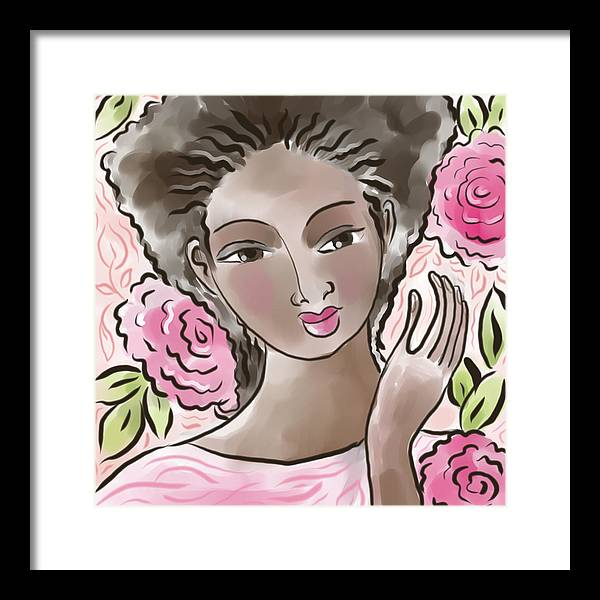 African American Framed Print featuring the digital art Joy In Flowers by Elaine Jackson