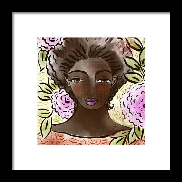 Digital Framed Print featuring the digital art Joy In My Flower Garden by Elaine Jackson