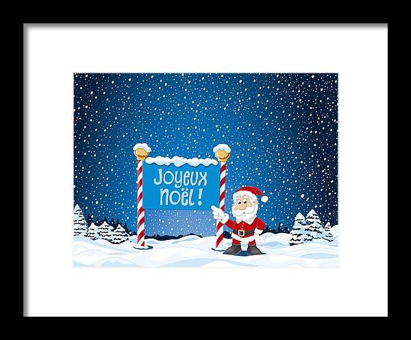 joyeux noel sign santa claus winter landscape framed print by frank