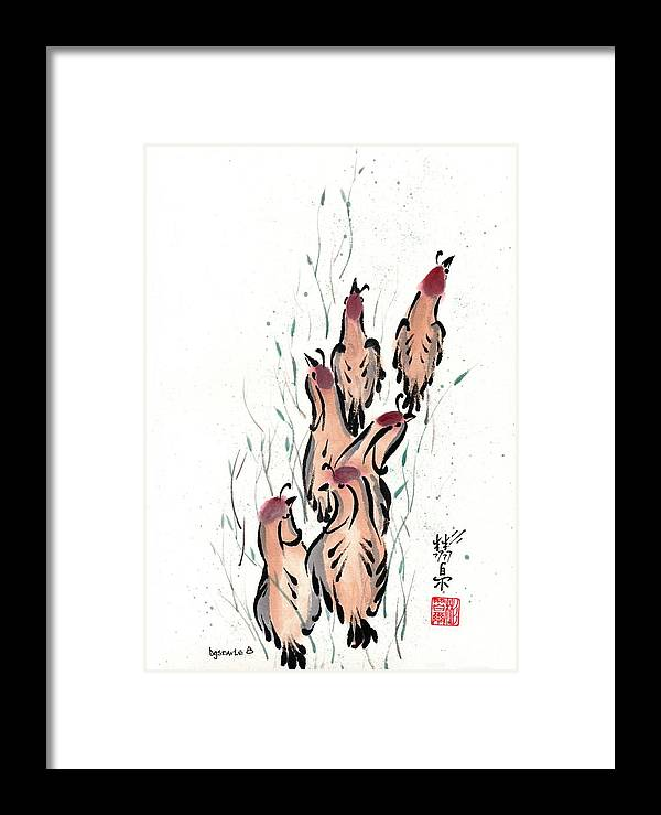 Chinese Brush Painting Framed Print featuring the painting Joyful Excursion by Bill Searle