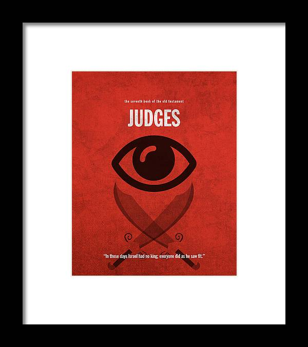 Judges Books Of The Bible Series Old Testament Minimal Poster Art Number 7  Framed Print
