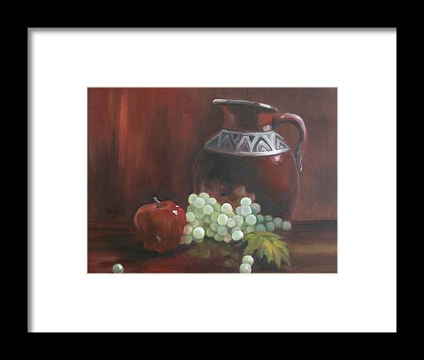 Red Framed Print featuring the painting Jug With Frosty Grapes by Ellen Ebert