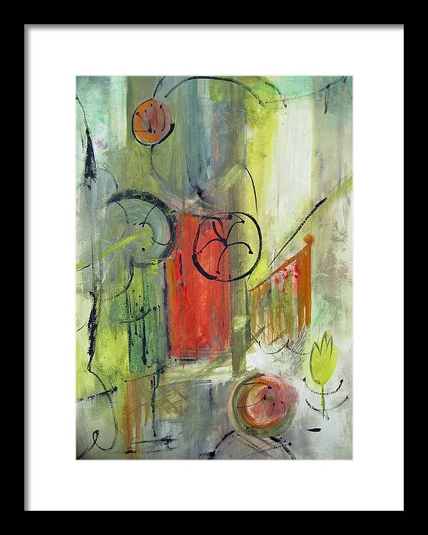 Abstract Framed Print featuring the painting Juicy by Charline Gardhouse