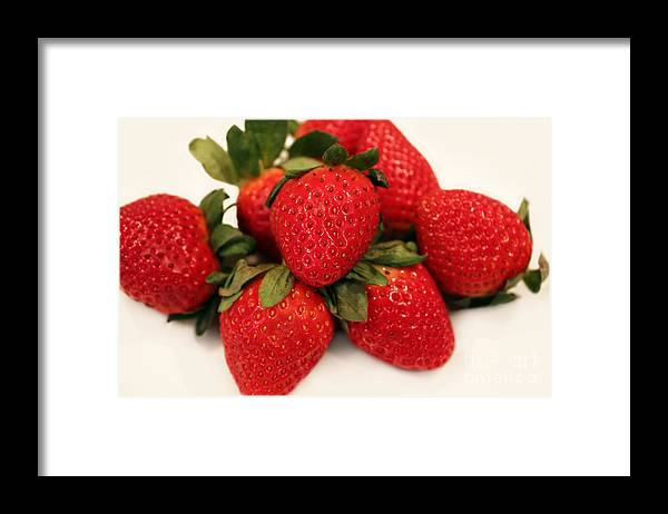 Juicy Strawberries Framed Print featuring the photograph Juicy Strawberries by Barbara Griffin