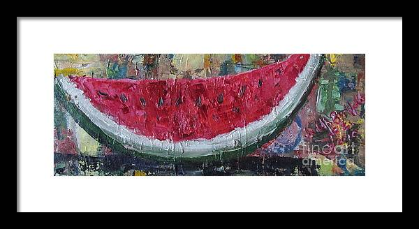 Watermelon Framed Print featuring the painting Juicy Watermelon Slice - Sold by Judith Espinoza