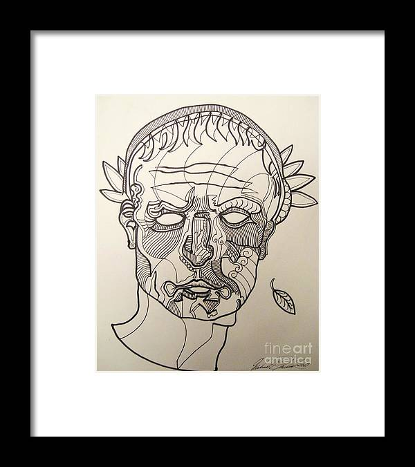 Michael Kulick Framed Print featuring the drawing Julius Caesar by Michael Kulick