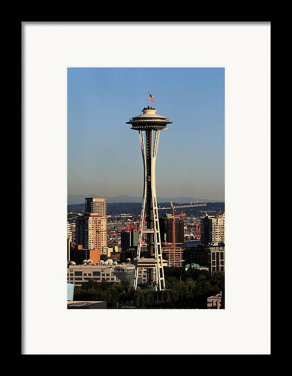 Space Needle Framed Print featuring the photograph July 4th Needle by Benjamin Yeager