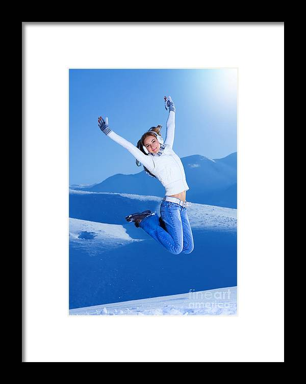 Action Framed Print featuring the photograph Jumping Girl by Anna Om