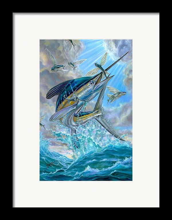 White Marlin Framed Print featuring the painting Jumping White Marlin And Flying Fish by Terry Fox