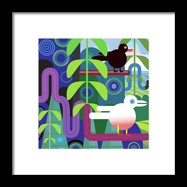 Pets Framed Print featuring the digital art Jungle Vector Illustration With Birds by Charles Harker