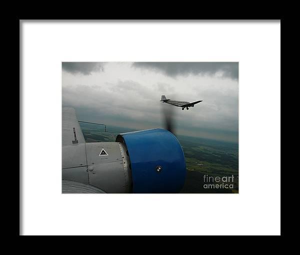 Ju-52 Framed Print featuring the photograph Junkers Ju-52 Flight Under Dark Clouds by Joachim Kraus