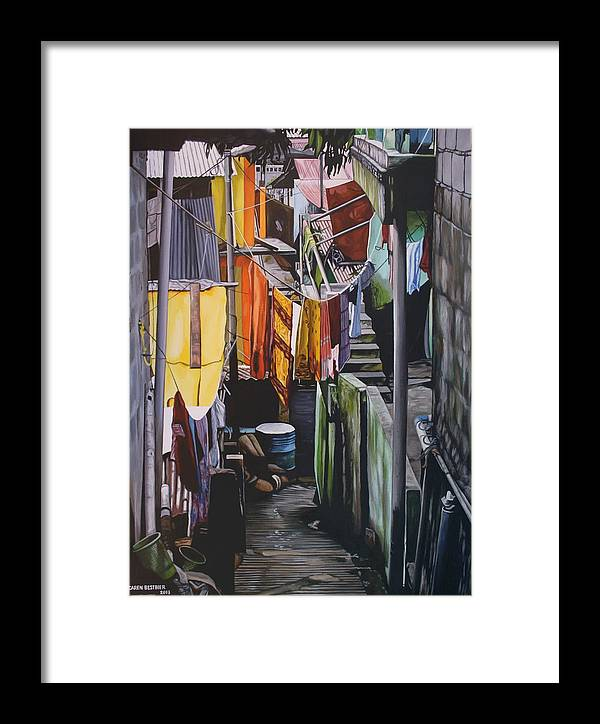 City Framed Print featuring the painting Junkyard Town by Caren Bestbier