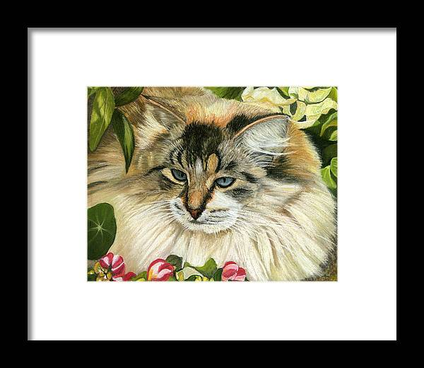Cat Framed Print featuring the painting Just Chillin by Sarah Dowson