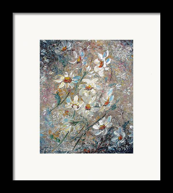 Daisies Painting Abstract Flower Painting Botanical Painting Bloom Greeting Card Painting Framed Print featuring the painting Just Dasies by Karin Dawn Kelshall- Best