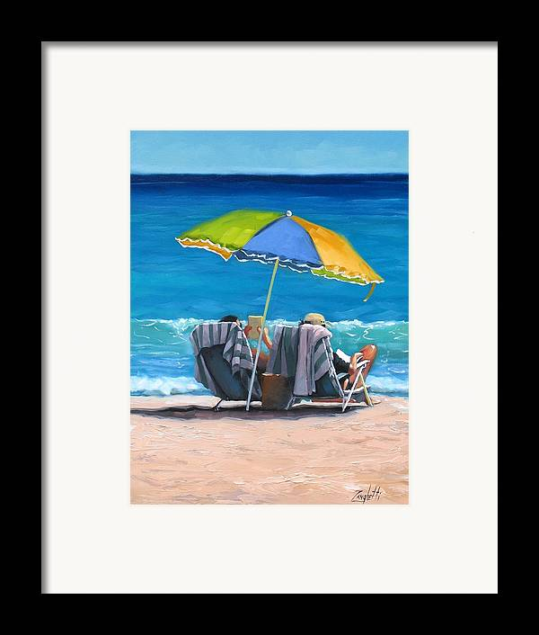 Seascape Framed Print featuring the painting Just Leave A Message Iv by Laura Lee Zanghetti