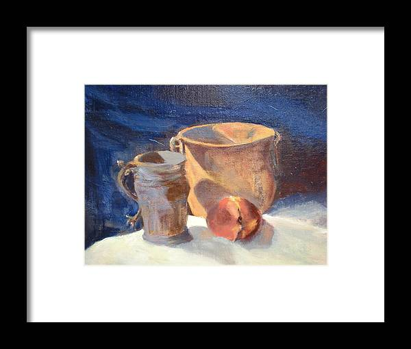 Still Life; Fruit; Canisters; Vases Framed Print featuring the painting Just Peachy by Bryan Alexander