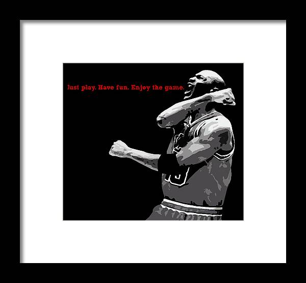 Michael Jordan Framed Print featuring the digital art Just Play by Mike Maher