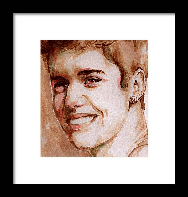 Justin Bieber Watercolor Portrait Framed Print by Laur Iduc