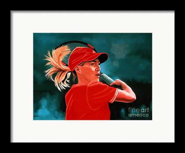 Justine Henin Framed Print featuring the painting Justine Henin by Paul Meijering