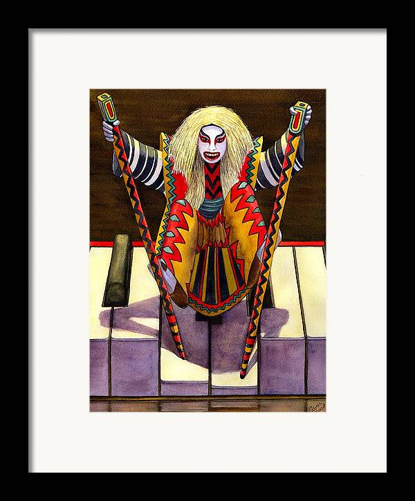 Kabuki Framed Print featuring the painting Kabuki Chopsticks 1 by Catherine G McElroy