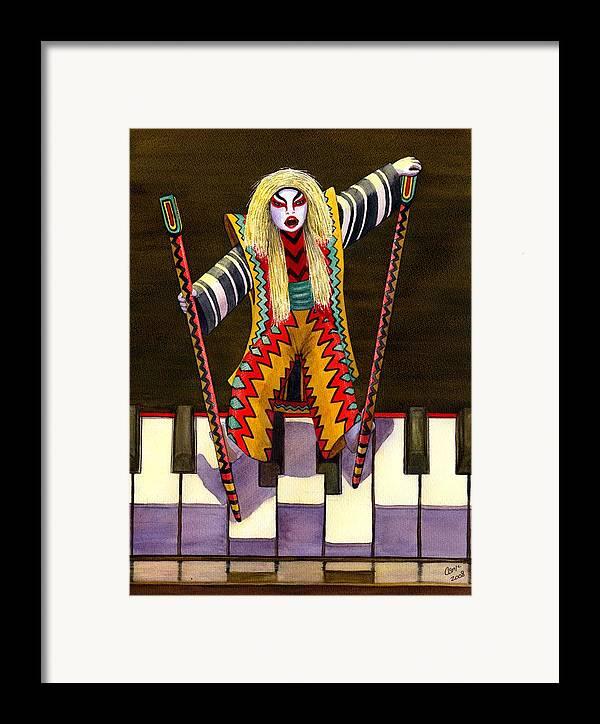 Kabuki Framed Print featuring the painting Kabuki Chopsticks 2 by Catherine G McElroy