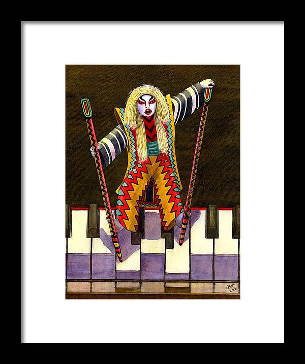 Kabuki Framed Print featuring the painting Kabuki Chopsticks 2 by Catherine G McElroy