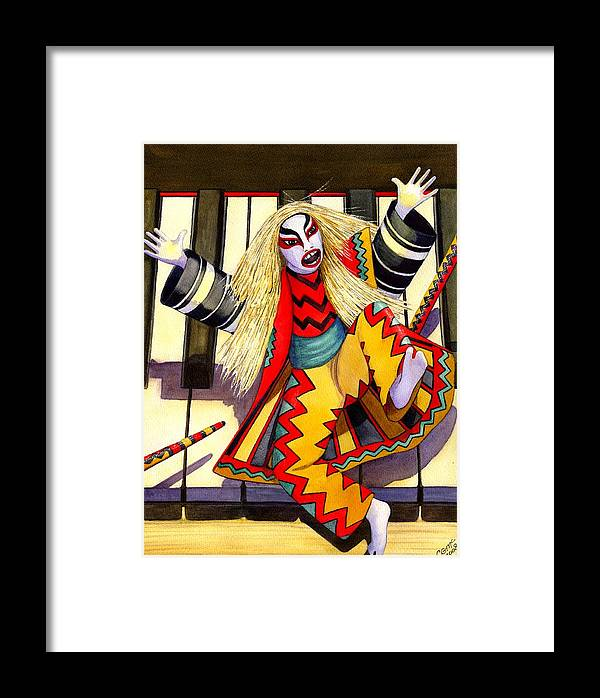 Kabuki Framed Print featuring the painting Kabuki Chopsticks 3 by Catherine G McElroy