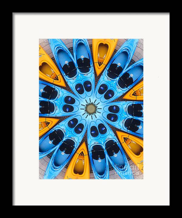 Boat Framed Print featuring the digital art Kaleidoscope Canoes by Amy Cicconi