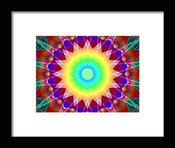 Ultra Fractal Framed Print featuring the digital art Kaleidoscope Rainbow by Mario Carini
