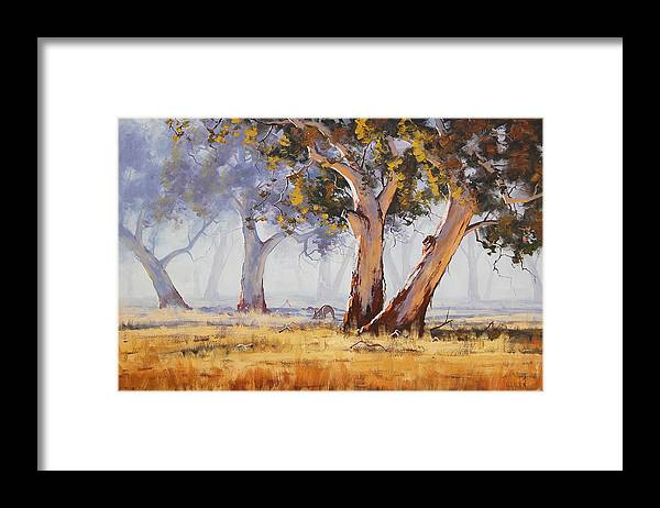 Eucalyptus Trees Framed Print featuring the painting Kangaroo Grazing by Graham Gercken
