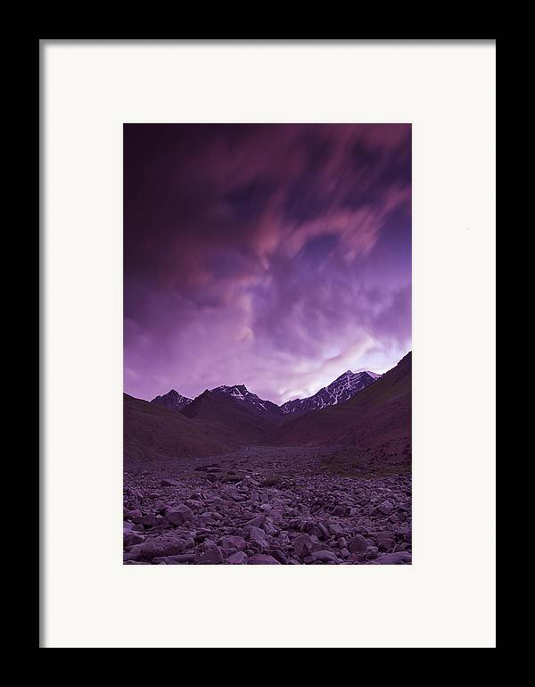 Mountains Framed Print featuring the photograph Kangri Twilight by Aaron Bedell