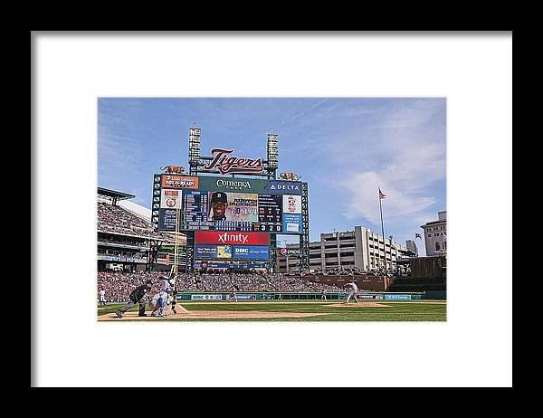 American League Baseball Framed Print featuring the photograph Kansas City Royals V Detroit Tigers by Leon Halip