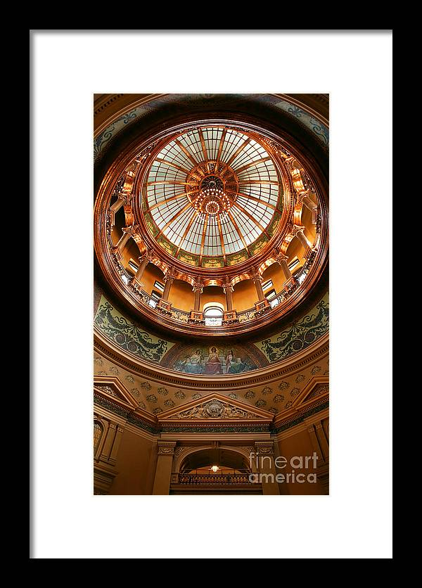 State Of Kansas; Statehouse; Kansas Statehouse; Topeka Framed Print featuring the photograph Kansas Statehouse by Betty Morgan