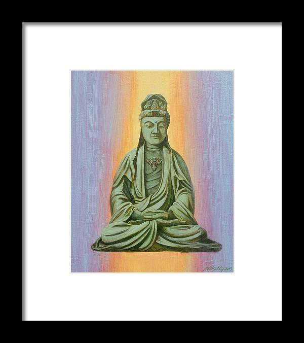 Ming Dynasty Statue Of Kanzeon Framed Print featuring the painting Kanzeon by J W Kelly