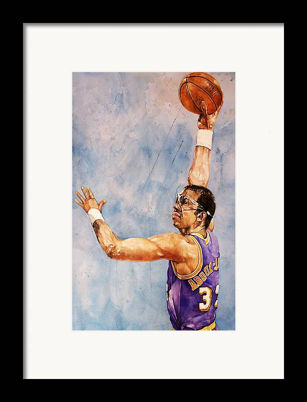 Lakers Framed Print featuring the painting Kareem Abdul Jabbar by Michael Pattison