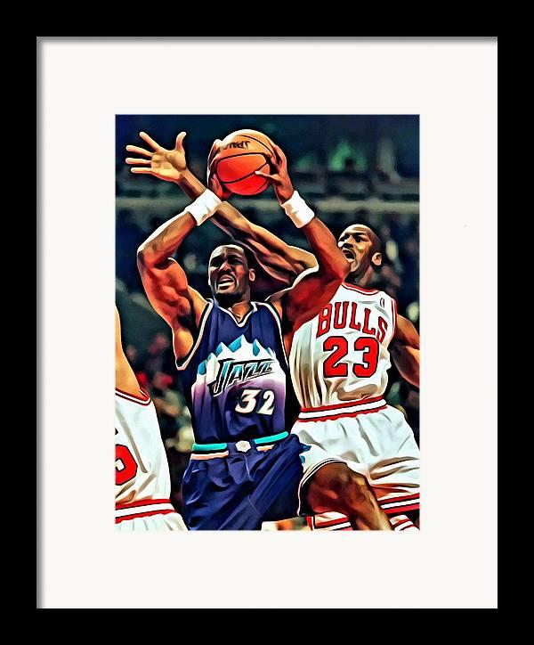 Nba Framed Print featuring the painting Karl Malone Vs. Michael Jordan by Florian Rodarte