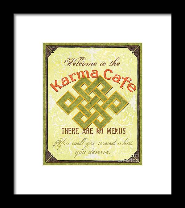 Karma Framed Print featuring the painting Karma Cafe by Debbie DeWitt