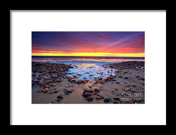 Sunset Pebbles Stones Beach Seascape Seascapes Karrara Hallett Cove Adelaide South Australia Australian Framed Print featuring the photograph Karrara Sunset by Bill Robinson